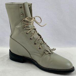 VTG Justin Diamond Kiltie Lace Up Western Boots